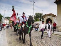 Männer und Pferde, kulturelles Festival Prag Lizenzfreies Stockbild