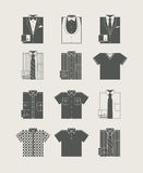 Männerkleidung. Ikonenset. Stockfotografie