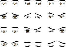 Männliche Augen des Vektors im unterschiedlichen Gefühl Stockfotos