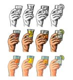 Männliche Hand, die Glasgetränke hält Stockbilder