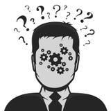 Männliche Profilavataralösung zum Problem Stockfoto