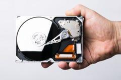 Männliche Technikerhand, die Festplattenlaufwerk des Computers über Weißrückseite hält Stockfotografie