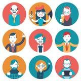 Männliche und weibliche Avatara-Geschäftsmann-Director Businesswoman Designer-Programmierer-Geek Hipster-Charakterkonzeptikonen e Lizenzfreie Stockbilder