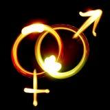 Männliche und weibliche Symbole Stockbild