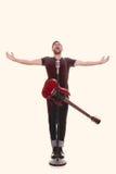 Männlicher Sänger mit Gitarre Stockfotografie