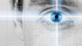 Männliches Auge mit dem Ausstrahlen der hellen und blauen Iris Stockfoto