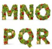 MNOPQR, fonte tipografica dell'albero di Natale Fotografie Stock