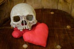 Mänsklig skalle med röd hjärta Arkivbild