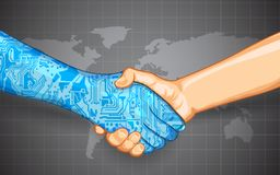Mänsklig teknologiväxelverkan Arkivbild