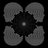Mänskliga kvinnliga huvud och kugghjul, svartvit industriell linje teckning, vektor Fotografering för Bildbyråer