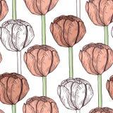 mönstrad den seamless tulpan lätt bakgrund redigerar blommalager till vektorn Royaltyfria Bilder