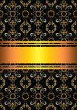 Mönstrad svart bakgrund med guld- band Royaltyfria Bilder