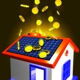 Münzen, die auf das Haus zeigt Extrageld und verbesserte Wirtschaftlichkeit fallen Stockbilder