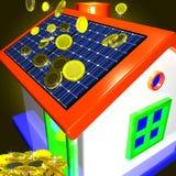 Münzen, die auf das Haus zeigt Geld-Einsparung oder Währungs-Advantag fallen Lizenzfreies Stockfoto