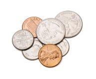 Münzen mit Ausschnitts-Pfad Stockbilder