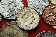 Münzen von Neuseeland Königin Elizabeth II Stockfoto