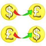 Münzenaustauschvektor des britischen Pfunds und des Dollars Stockfotografie