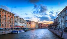 Moïka canal sunset Stock Image