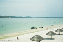 Moçambique Bilene, strand, sol, Arkivfoto