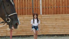 A moça bonita anda no cavalo na arena lentamente filme