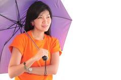 Moça bonita com o guarda-chuva, isolado no branco, Fotos de Stock Royalty Free