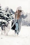 Moça bonita na floresta do inverno com cão de puxar trenós Siberian Símbolo do ano novo 2018 Imagem de Stock