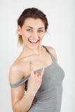 Moça bonita no t-shirt com sorriso Imagem de Stock Royalty Free