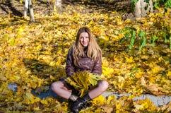 A moça bonita uma mulher feliz que sorri e que guarda as folhas de bordo amarelas que andam no outono estaciona Imagem de Stock Royalty Free