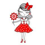 Moça bonito com as flores no fundo branco Imagens de Stock