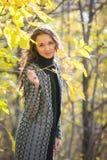 A moça bonito que guarda um galho com amarelo sae contra o contexto da floresta do amarelo do outono Fotos de Stock Royalty Free