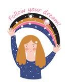 Moça com arco-íris e texto do espaço - 'siga seus sonhos ' Cartaz inspirador à moda do vetor ou cópia bonito do t-shirt ilustração do vetor