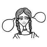 Moça com bolhas dos pensamentos Sonhos da mulher ilustração do vetor