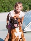 Moça com cão Imagem de Stock