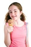 Moça com o cone de gelado foto de stock
