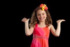 Moça com palmas acima fotografia de stock