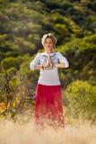 Moça contratada na ioga Foto de Stock