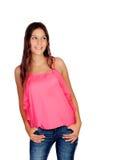 Moça de Atrractive com calças de brim Imagens de Stock Royalty Free