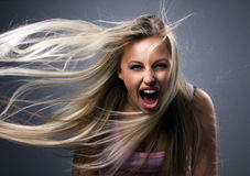 Moça de grito Fotografia de Stock