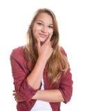 A moça de pensamento está feliz fotografia de stock