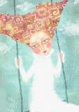Moça despreocupada que balança no céu com nuvens Imagens de Stock