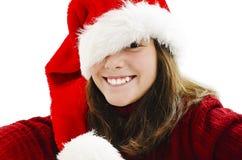 Moça em Santa Hat vermelha foto de stock royalty free