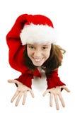 Moça em Santa Hat vermelha Olhar acima espera presentes de Santa para o Natal fotos de stock