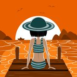 A moça em um cais olha o por do sol ilustração royalty free