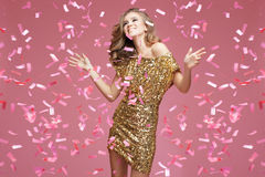 Moça em uma comemoração do vestido de noite Imagem de Stock Royalty Free