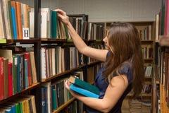 A moça escolhe livros na biblioteca foto de stock