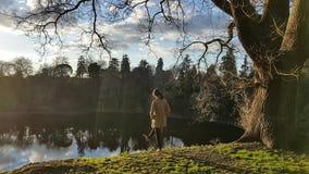 A moça está retrocedendo seu pé por um lago vídeos de arquivo