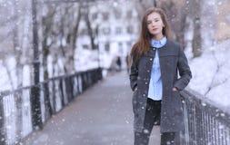 Moça fora no inverno Menina modelo que levanta fora em um w Fotografia de Stock Royalty Free