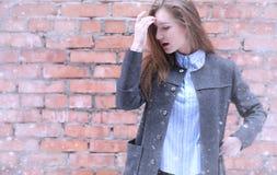 Moça fora no inverno Menina modelo que levanta fora em um w Imagens de Stock Royalty Free