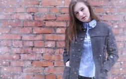 Moça fora no inverno Menina modelo que levanta fora em um w Fotografia de Stock