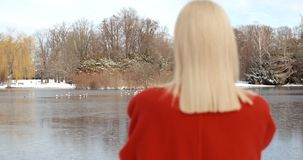 Moça pensativa que aprecia o inverno em um parque da cidade fotos de stock